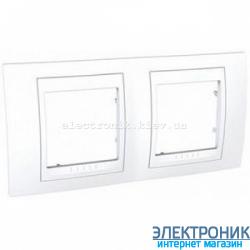 Рамка двухместная Schneider (Шнайдер) Unica Plus горизонтальная Белый/Белый