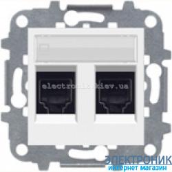 Розетка компьютерная или телефонная двойная ABВ Zenit белый