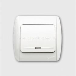 Выключатель 1-клавишный с подсветкой белый EL-BI Zirve Fixline