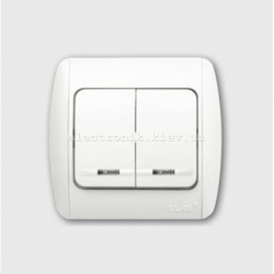 Выключатель 2-клавишный с подсветкой белый EL-BI Zirve Fixline