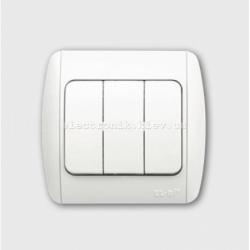 Выключатель 3-клавишный белый EL-BI Zirve Fixline