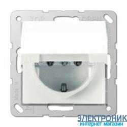 Розетка с заземляющими контактами 16 А / 250 В~, с откидной крышкой 16А JUNG Eco Profi Белый