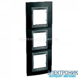 Рамка 3-я вертикальная Schneider Electric Unica Top Черный родий/Графит