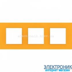 """Рамка трехместная Schneider (Шнайдер) Unica Quadro """"Natura"""" Cytrus"""