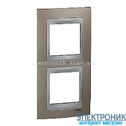 Рамка 2-я вертикальная Schneider Electric Unica Top Оникс медный/Алюминий