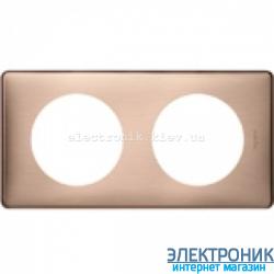 Рамка 2-постовая Legrand Celiane, прямоугольная, 161х82мм (медь)