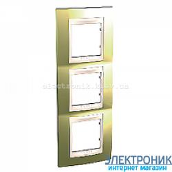 Рамка 3-я вертикальная Schneider Electric Unica Top Золото/Слоновая кость