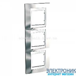 Рамка 3-я вертикальная Schneider Electric Unica Top Блестящий хром/Белый