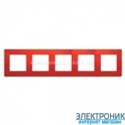 Рамка 5-ти постовая Legrand Etika (красная)