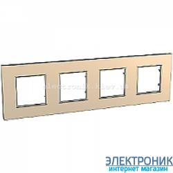 Рамка четырехместная Schneider (Шнайдер) Unica Quadro Metallized Медный