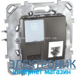 Schneider (Шнайдер) Unica графит компьютерная розетка 1хRJ45 кат. 5е + Телефонная розетка RJ11