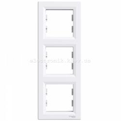 Рамка 3-я вертикальная белая Шнайдер ASFORA