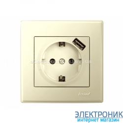 LESYA КРЕМ Розетка с/з+ USB зарядка