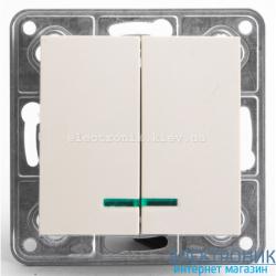 Выключатель 2-х клавишный с подсветкой Tesla LXL крем
