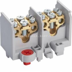 Клемма 2-полюсная, 2 отвода на полюс, сечение до 16/25мм2, размер 77x44x44мм Hager