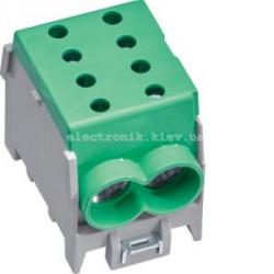 Модульная вводная 1-полюсная клемма 2x70?/2x50?, 160А, зеленая, Hager