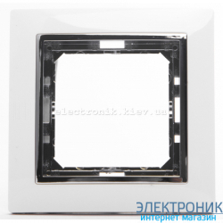 Рамка 1-ая Tesla LXL белый/хром