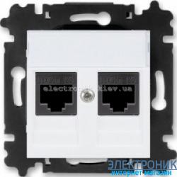 Розетка универсальная телефон/компьютер двойная ABB Levit белый/ледяной