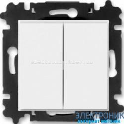 Переключатель 2-клав., проходной безвинтовые зажимы ABB Levit белый/ледяной