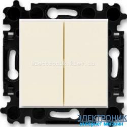 Выключатель 2-клав., безвинтовые зажимы ABB Levit слоновая кость/белый