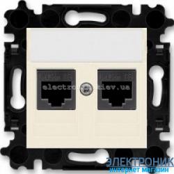 Розетка универсальная телефон/компьютер двойная ABB Levit слоновая кость/белый