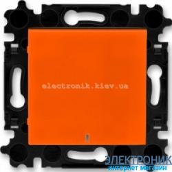 Выключатель/переключатель 1-клав., с подсветкой проходной безвинтовые зажимы ABB Levit оранжевый/дымчатый