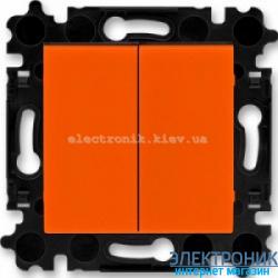 Выключатель 2-клав., безвинтовые зажимы ABB Levit оранжевый/дымчатый