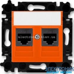 Розетка универсальная телефон/компьютер двойная ABB Levit оранжевый/дымчатый