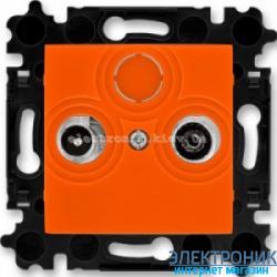 Розетка TV-R-SAT спутниковая, конечная ABB Levit оранжевый/дымчатый