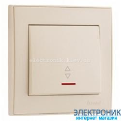 Выключатель проходной с подсветкой, крем Lezard RAIN