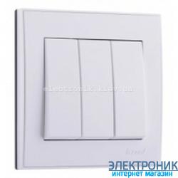 Выключатель трехклавишный, белый Lezard RAIN