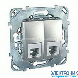 Schneider (Шнайдер) Unica алюминий телефонная розетка двойная 2хRJ11