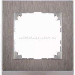 Рамка MERTEN M-PURE DECOR одинарная сталь/алюминий