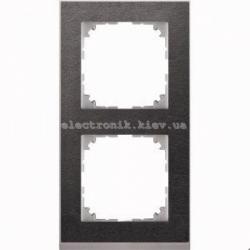 Рамка MERTEN M-PURE DECOR двойная сланец/алюминий