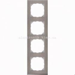 Рамка MERTEN M-PURE DECOR четверная сталь/алюминий