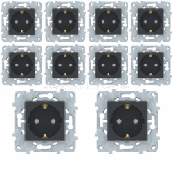 Комплект розеток с заземлением и шторками 10 штук (8 шт.+ 2 шт. - в подарок) Unica New антрацит
