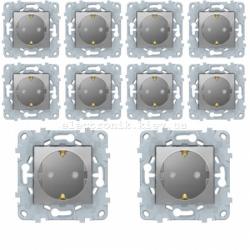 Комплект розеток с заземлением и шторками 10 штук (8 шт.+ 2 шт. - в подарок) Unica New алюминий
