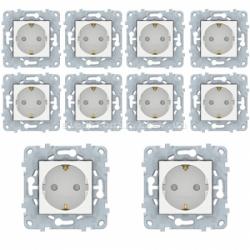 Комплект розеток с заземлением и шторками 10 штук (8 шт.+ 2 шт. - в подарок) Unica New белая