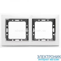 Рамка 2-ая Tesla LXL белый/хром