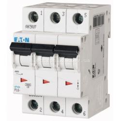 Автоматический выключатель Eaton трехполюсный 6А PL6-C6/3