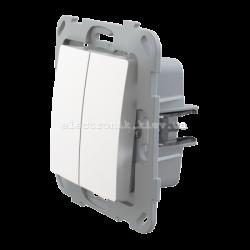 Кнопка-вимикач без фіксації двоклавішна PLANK белый
