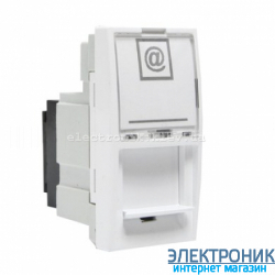 Unica белый компьютерная розетка  RJ45 FTP кат. 5е, 1модуль (половинка)