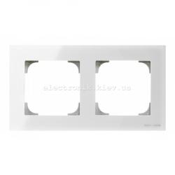 Рамка двойная ABB SKY белое стекло