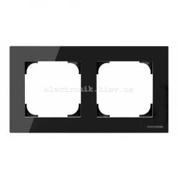 Рамка двойная ABB SKY черное стекло