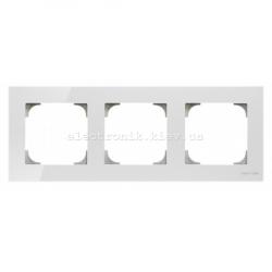 Рамка тройная ABB SKY белое стекло