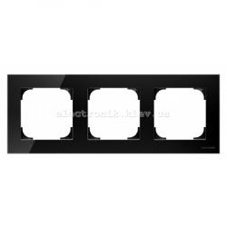 Рамка тройная ABB SKY черное стекло