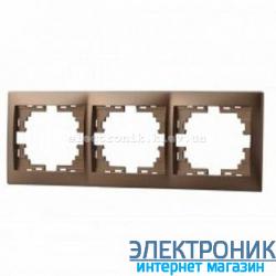 Рамка 3-ая горизонтальная Mira светло-коричневая перламутр (шт.)