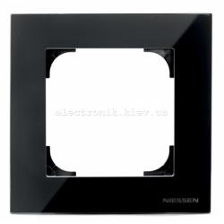 Рамка одинарная ABB SKY черное стекло