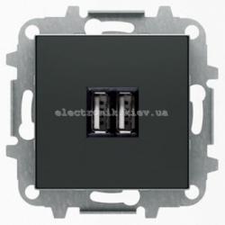 Розетка USB для подзарядки ABB SKY черный бархат