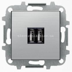 Розетка USB для подзарядки ABB SKY нержавеющая сталь